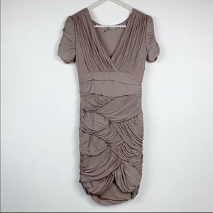 Halston Heritage tan dress small Ruched bodycon